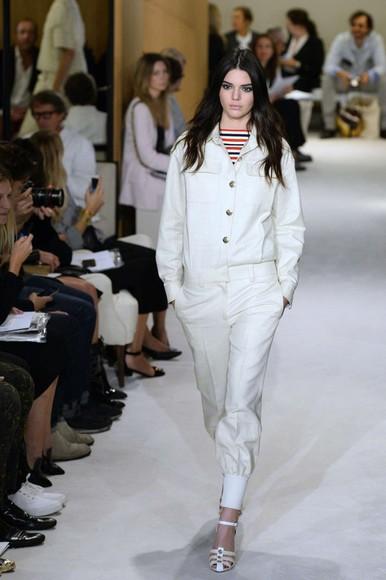 white kendall jenner jumpsuit fashion week 2014