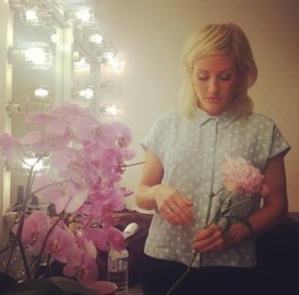 shirt dots polka dots bkue blue top flowers ellie goulding