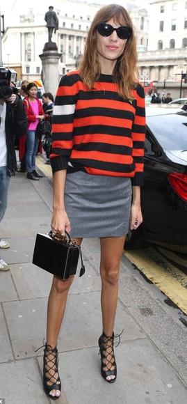 alexa chung fashion week 2014 sweater stripes streetstyle