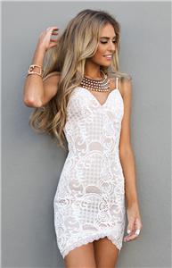NWT Angel Biba White Mendes CROCHET LACE Strappy Bodycon Dress size 6 8 10 12