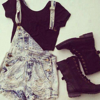 romper overall shorts overalls ripped/distressed/destroyed jean shorts shirt shoes
