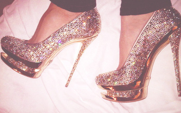 shoes gold heel