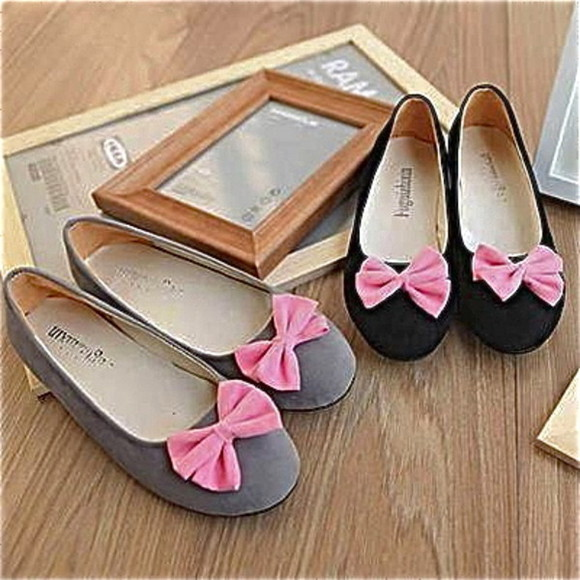 ballerinas black shoes flats bow grey pink pink bow cute flats