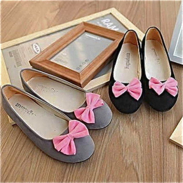 ce2f1183c shoes bow grey black pink ballet flats flats pink bow ballerina ballet flats  bows pink shoes