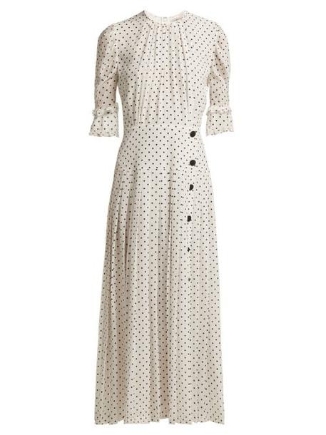 dress silk dress pleated white print black silk