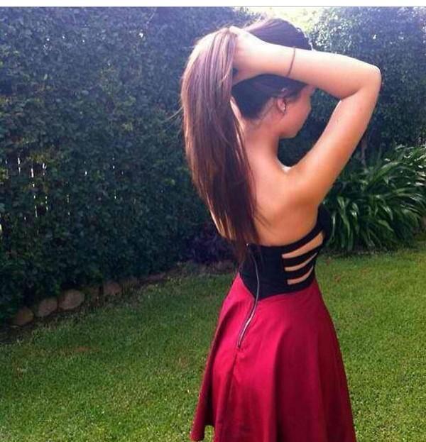 dress red dress black dress dress with side cutouts strapless dress