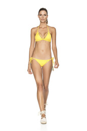 swimwear,agua bendita,bikini,side ties bikini,triangle top,yellow,side tie bottom,bikiniluxe,top