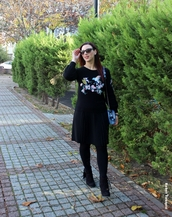 sweater,zaful,all black everything,style,lookbook,vintage,embroidered,fashion,black,girly,sunglasses,instagram