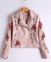 jacket,embroidered,girly,pink,biker jacket,leather,leather jacket,zip,zip up jacket,floral,studded,studded jacket