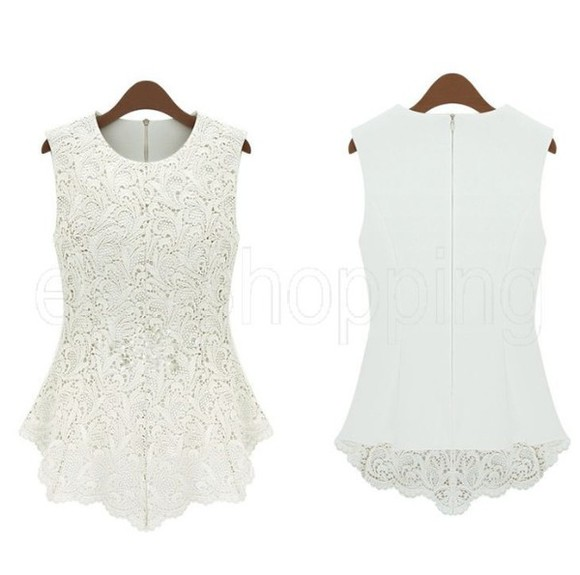 white blouse white lace top white top peplum peplum top white peplum top