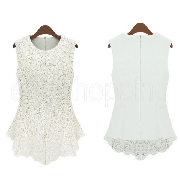 blouse white lace top white white top peplum peplum top white peplum top