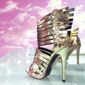 shoes,wild rose,zooshoo,zooshoo shoes,zooshoo heels,gold heels,metallic heels,statement heels,isabella sandal,open toed heels,sandal heels,woven sandal heel