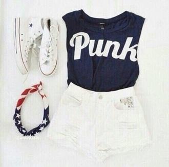 shorts white lace shorts high waisted shorts punk blue shirt shirt crop tops