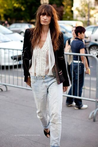 shirt caroline de maigret fashionista model white shirt jeans blue jeans boyfriend jeans denim jacket leather jacket black jacket sandals black sandals spring outfits white blouse