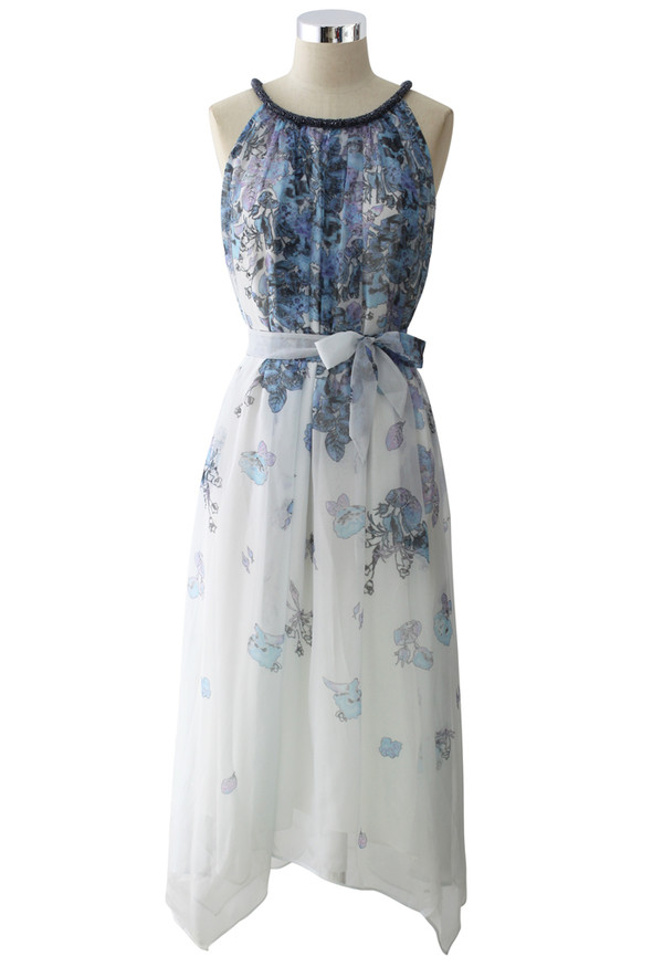 dress beaded collar watercolor print chiffon midi