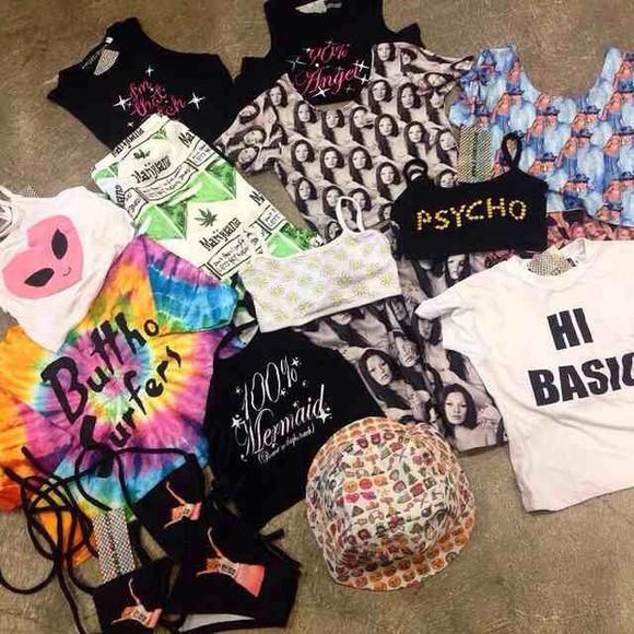 hat swimwear top black white kawaii soft grunge t-shirt shirt tank top grunge bucket hat kawaii grunge black bikini skirt