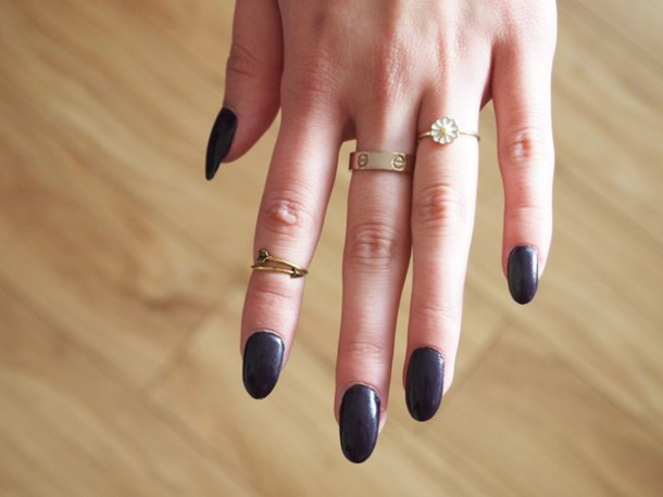 jewels ring gold silver bronze nails gel black hand boho gypsy indie cartier sunflower daisy yellow white arrow dainty cute jewelry gold ring