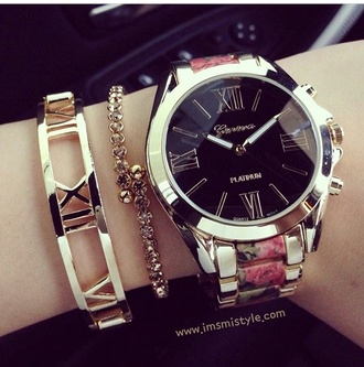 jewels floral watch girly cute dress sexy black gold michael kors watch black watch geneva bracelets