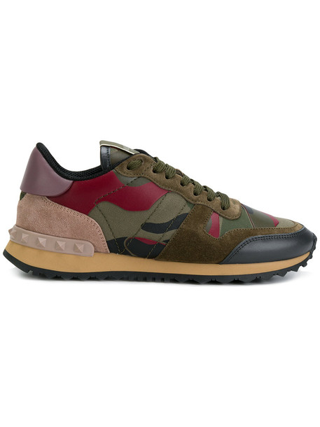 Valentino women camouflage sneakers leather suede green shoes