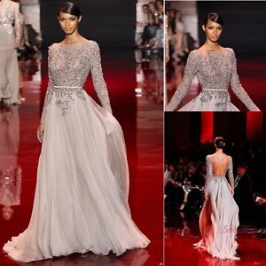 New Elie Saab Transparent Silver Chiffon Long Sleeves Backless Evening Dresses | eBay