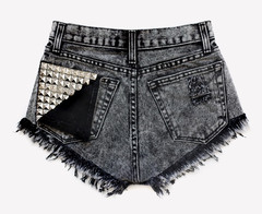 Jett Acid Black Studded Shorts | RUNWAYDREAMZ