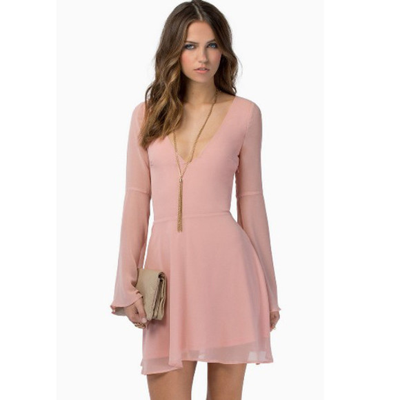 pink dress vintage boho long sleeves v-neck retro pencil case