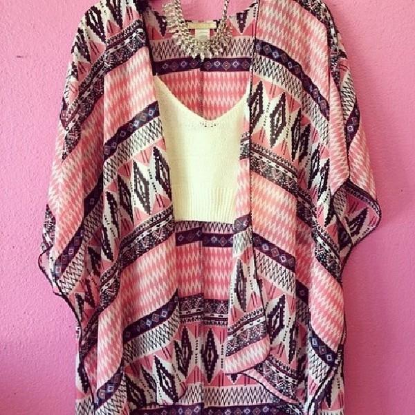 cardigan pink print black white necklace crop tops aztec