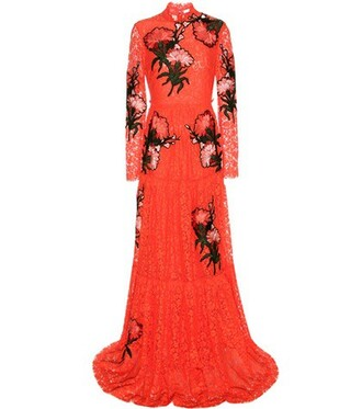 gown embroidered lace red dress