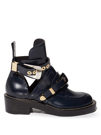leather ankle boots cut-out boots ankle boots leather navy shoes