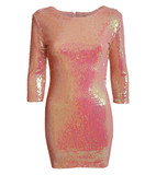 Layla 3/4 sleeve iridescent sequin bodycon dress in pink
