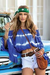 top,blue,summer,cool,trendy,fashion,off the shoulder,tie dye,long sleeves,bikiniluxe-feb