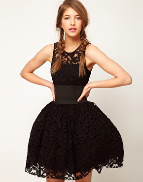 ASOS   ASOS Prom Dress in Lace With Elastic Waist at ASOS