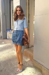 skirt,olivia palermo,denim,clutch,denim skirt,blouse,shirt,bag