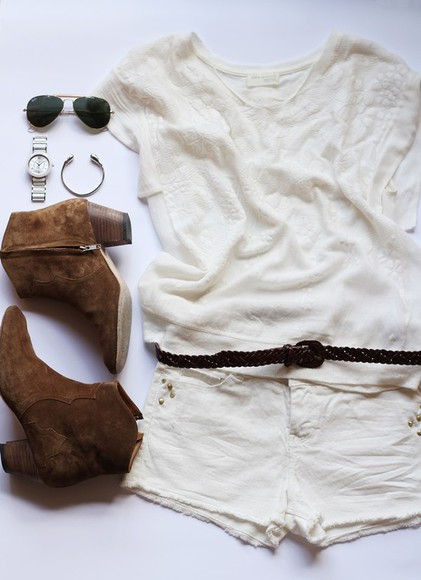 low boots booties t-shirt white tshirt white shorts shorts outfit brown sunglasses belt watch