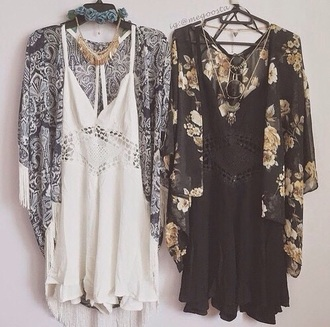 dress black summer cardigan white summer dress coachella white dress flowers romper black dress little black dress bohemian boho dress indie boho jumpsuit bohoo chic bohoo hipster jacket black jumpsuit kimono tumblr outfit pretty dress!