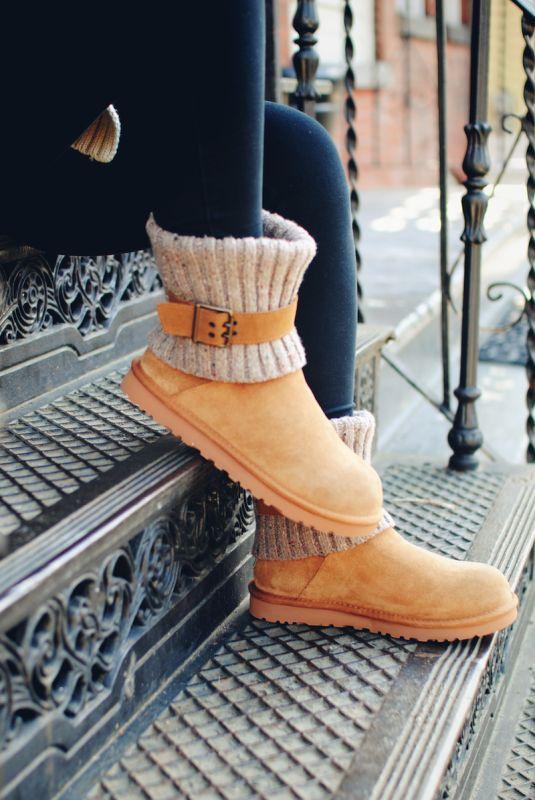 UGG Fluff Punk Boot Chestnut Leather Sheepskin Stitch Mini BOOTS Size US 9
