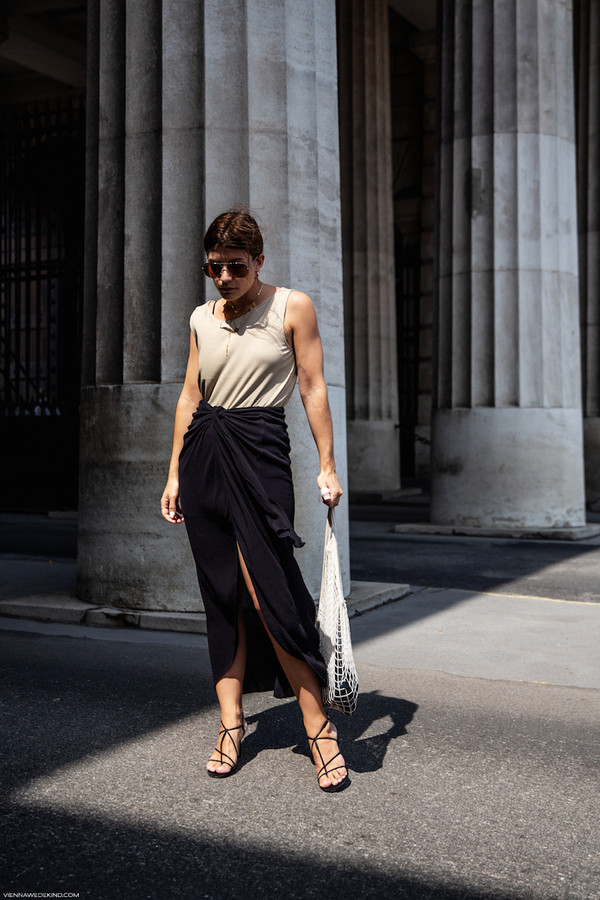 skirt midi skirt draped skirt sandal heels bag tank top sunglasses