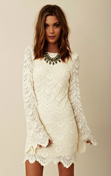 Dress: boho, hippie, bohemian, bell sleeves, long sleeves, ivory ...