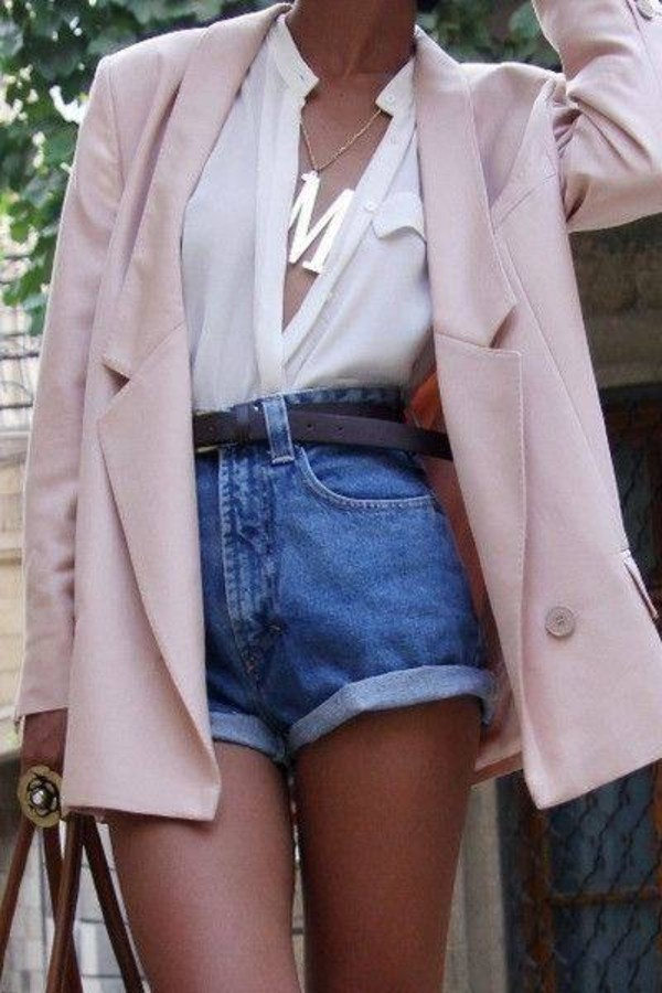 coat pink coat denim shorts shorts belt white blouse white shirt shirt cute jacket oversized jacket oversized oversized envelope clutch jewels blouse summer blazer long blazer summer outfits boyfriend blazer demin shorts necklace