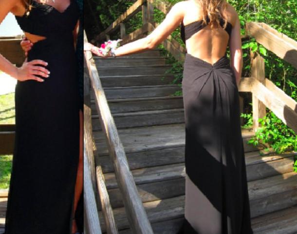 dress black prom dress prom dress black open back cut-out dress elegant formal evening dress floor length dress open back dresses
