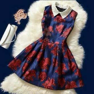 floral dress vintage roses dress style vintage dress colletto amazing cute platforms dress collar