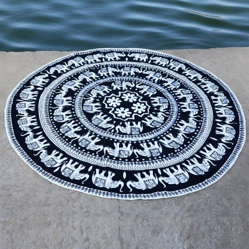 Indian White Elephant Mandala Roundie Tapestry