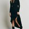 Black button front long sleeve maxi dress