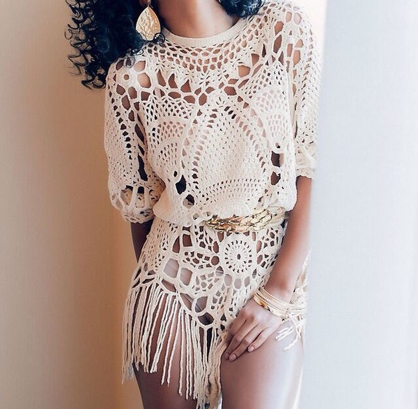 jumpsuit romper lace lace playsuit crochet playsuit fringes franges blouse sweater boho fashion style top shirt boho chic trendy fall outfits summer dress summer outfits outfit shitt blogger beauty fashion shopping beach beach dress kaftan crochet dress crochet dress