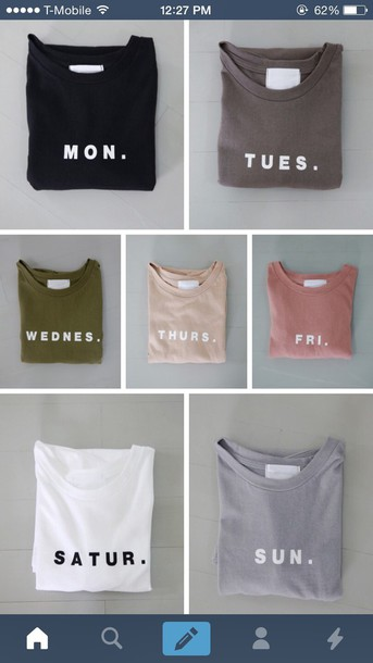 shirt weekdays colorful days