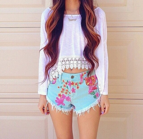 top girl girly brunette long hair shorts white crop tops