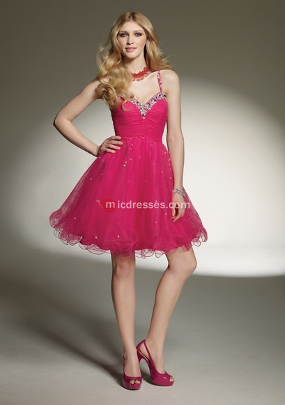 short a-line organza sweetheart sequins fuchsia homecoming dress