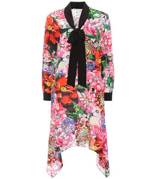 Mary Katrantzou Hearts floral-printed silk dress in pink