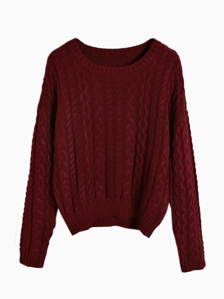 Winered Cable Crop Jumper | Choies