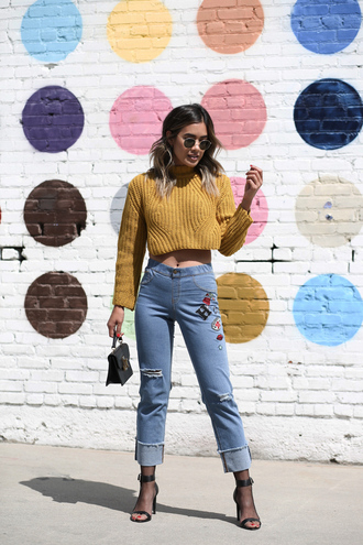 jeans tumblr blue jeans embroidered ripped jeans fishnet socks sandals sandal heels high heel sandals sweater cropped sweater long sleeve crop top crop tops mustard